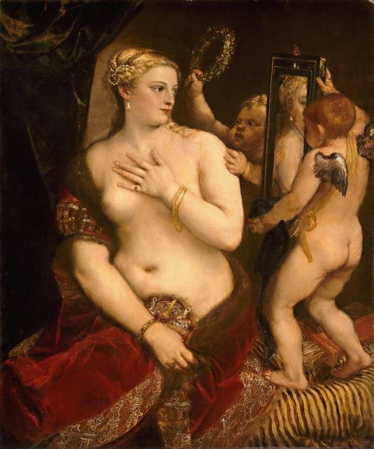 Le Titien Vénus à sa toilette, complétée en 1555, est un exemple de Vénus dépeinte à sa toilette avec Cupidon.