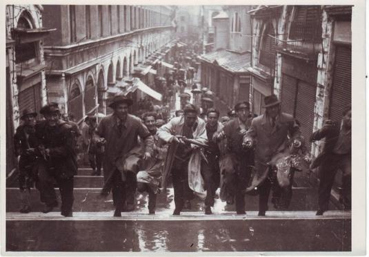 25 avril 1945, les partisans sur le pont du Rialto