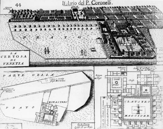 La Certosa di Venezia sur le plan de Coronelli