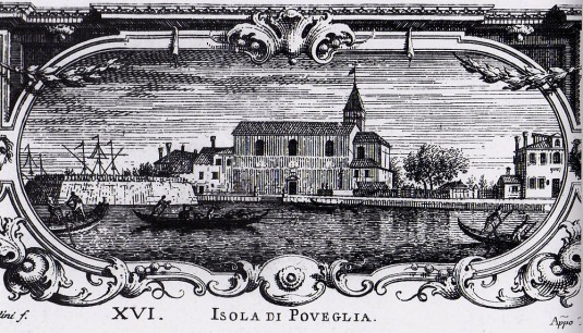 Gravure de A. Visentini représentant l'isola di Poveglia vers 1777