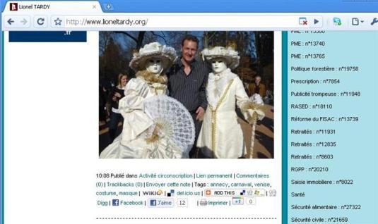 Lionel Tardy au bras de Jean-Luc Rigaut lors du carnaval d'Annecy
