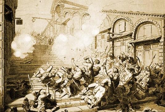 Les troupes françaises de Bonaparte tirent sur la foule au pont du Rialto
