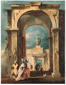 Caprice avec un couple élégant près d'une arche