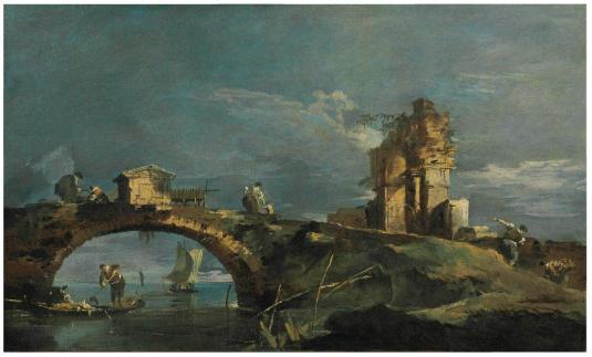 Caprice avec un pont, des ruines et la lagune