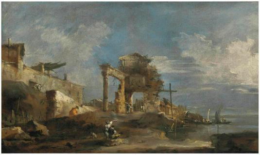 Caprice avec des ruines et la lagune