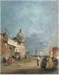 Caprice avec des églises au bord de la lagune