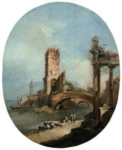 Caprice avec un temple en ruine