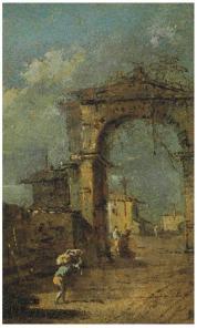 Caprice avec une arche en ruine