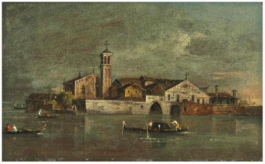 Francesco Guardi (Venice 1712-1793). Isola di S. Servolo. OHuile sur toile. 12.7 x 19.7 cm - Франческо Гварди (Венеция 1712-1793). Остров Св. Серволо. Холст, масло. 12,7 х 19,7 см