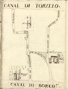 Carte du XVIIe siècle Torcello où vous avez marqué l'abbaye de Saint-Thomas des Bourguignons.