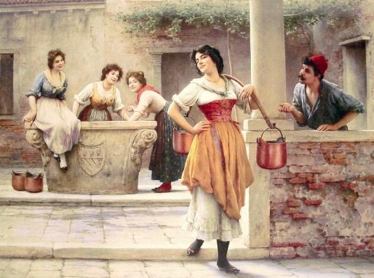 Brin de cour au puits - Eugene de Blaas 1904