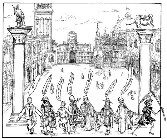 La dernière heure entre les colonnes de la piazzetta