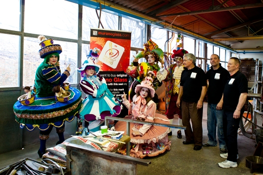 The winning costumes of carnival visiting Murano