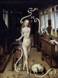 Maître anonyme allemand, XVème siècle. Le sortilège d'amour, c.1480. Huile sur bois, Leipzig, Museum der bildenden Künste.