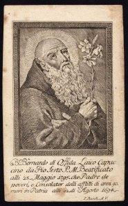 Beato Bernardo da Offida Magistrale incisione a bulino su rame su bella carta vergellata. Collezione privata Galanzi
