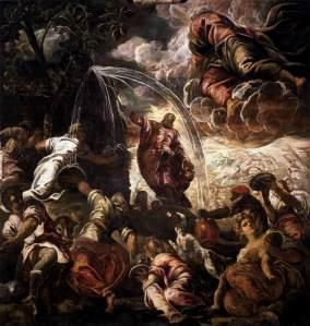 Moïse jaillissant l'eau du rocher