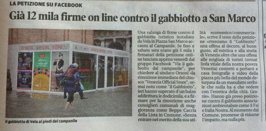 Article dans La Nuova di Venezia du lundi 20 mai 2013