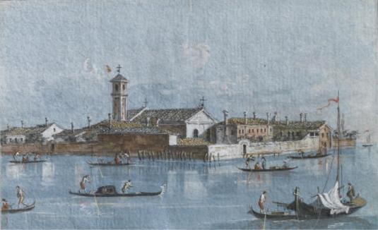 Isola del Lazzaretto Vecchio par Giacomo Guardi (Venezia 1764-1835)