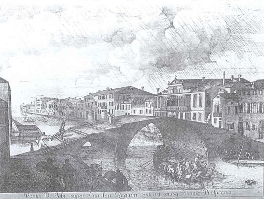 Le ponte tre Archi sans parapet, sur un dessins de Domenico Lovisa, Venezia Museo Correr