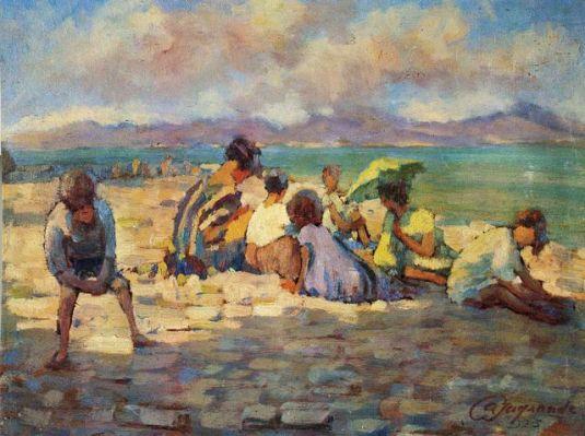 Bambini al lago - Silvio Casagrande, 1925
