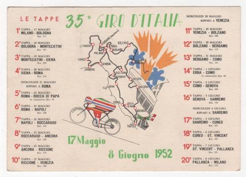 """Il Giro d'Italia 1952, trentacinquesima edizione della """"Corsa Rosa"""""""