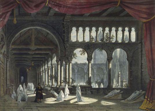 EUGÈNE CICERI (1813-1890)  Maquette de décor pour « Robert le Diable », de Meyerbeer, 1831. Il s'agit du « Ballet des Nonnes », où figurait pour la première fois la danseuse Marie Taglioni.