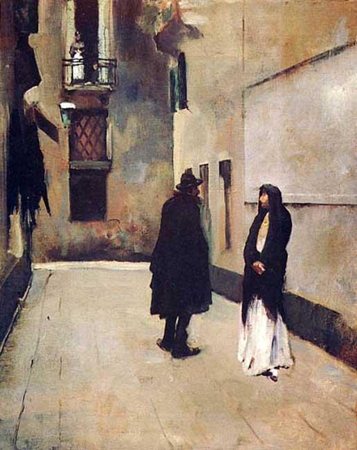 Street Scene in Venice John Singer Sargent - 1882     Meredith Long & Company