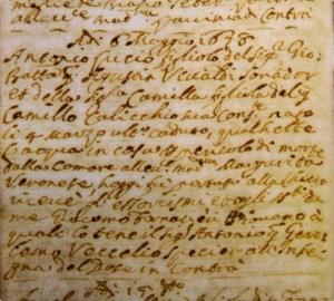 Acte de baptême d'Antonio Vivaldi en date du 6 mai 1687