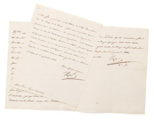 NAPOLÉON Ier Ensemble de 2 lettres signées, adressées au prince Eugène