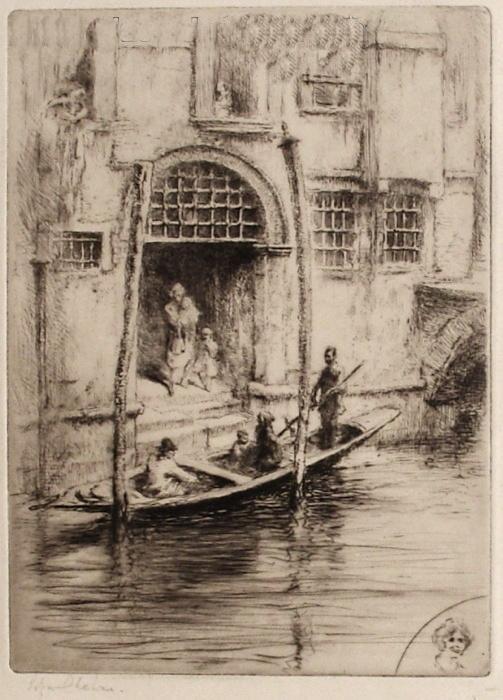 Venise, sandalo à la porte d'un palais (1926)