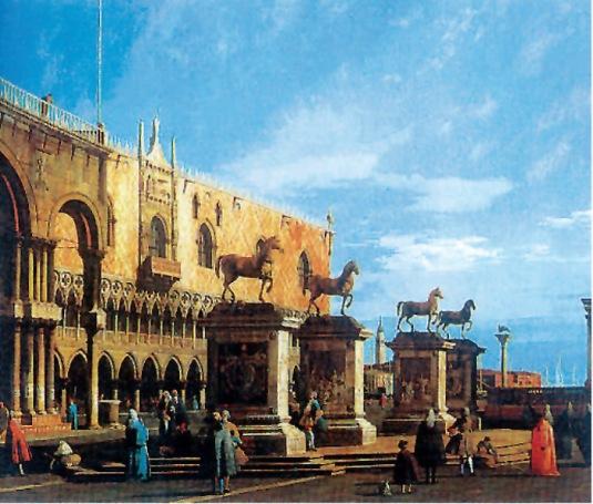 Giovanni Antonio Canal detto Canaletto, Capriccio con i cavalli della Basilica di San Marco posti sulla piazzetta