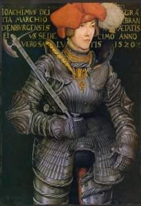 """Lucas Cranach l'Ancien. """"Joachim II - prince élu."""" 1520. Gants de fer - un attribut indispensable du costume de chevalier"""