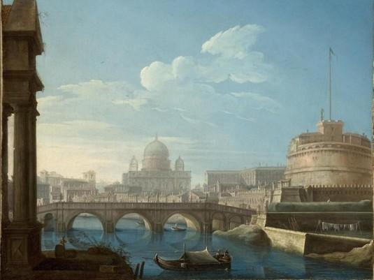 Pietro Bellotti, Veduta di Roma con Castel Sant'Angelo e il Vaticano (1771)