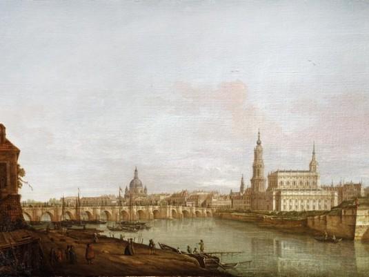 Pietro Bellotti, Dresda: il ponte di Augusto dalla riva destra dell'Elba,