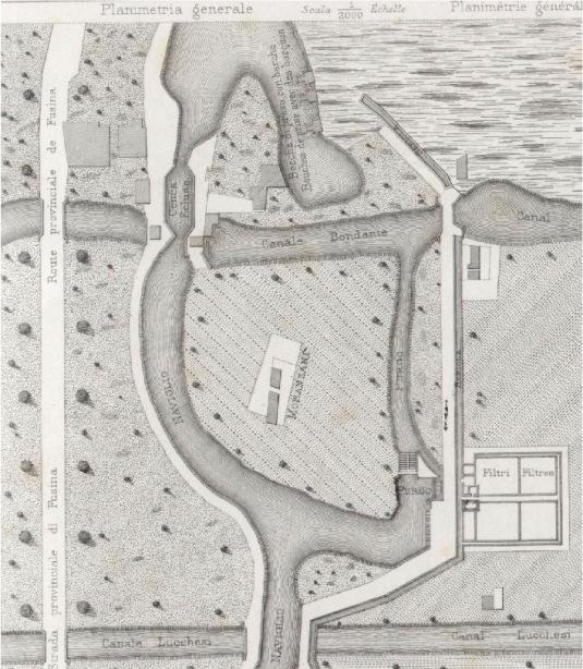 Les bassins filtrants à la fin du canal Seriola Veneto à Moranzani