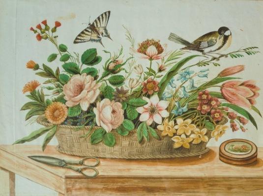Natura morta con fiori, frutta, uccelli, e farfalla
