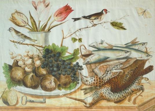 Natura morta con vaso di fiori, frutta, uccelli, farfalla, pesci e cacciagione