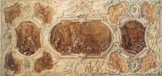 Andrea Celesti: Paolo Erizzo abandonne les ruines de la forteresse de Negroponte, le martyre de Paolo Erizzo, Paolo Erizzo en face de Mehmed II qui le condamne à la mort, Paris, Musée des Beaux-Arts