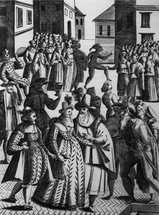 Dfilé de masques sur la campo San Stefano le 26 décembre 1610 - Giacomo Franco - Museo Correr