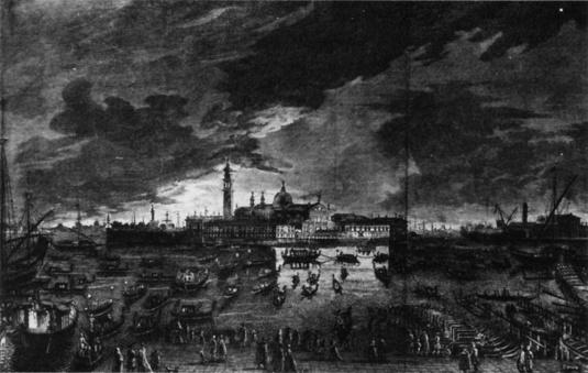 Visite du Doge, la nuit, à San Giorgio Maggiore la veille de la fête de San Stefano - Giambattista Moretti