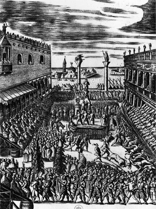 Fête du Jeudi Gras sur la piazzetta, 1610 - Giacomo Franco