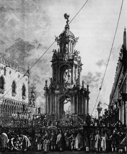 Machine pour la fête du Jeudi Gras sur la piazzetta San Marco - Giovanni Battista Brustolon
