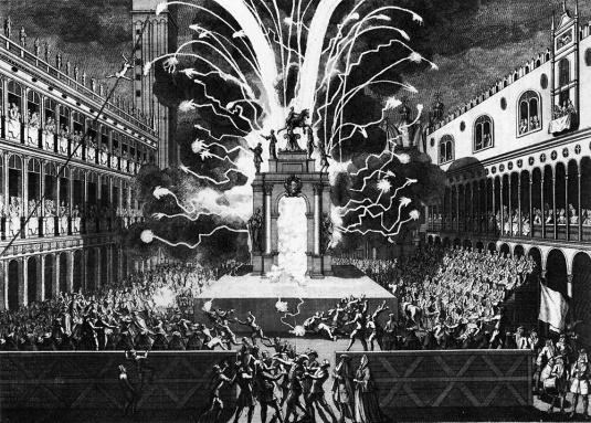 Vol de l'ange et feux d'artifices pour le Jeudi Gras - 1757