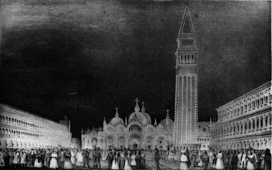 Fête nocturne sur la place Saint-Marc illuminée - Valery - Deyé, 1856