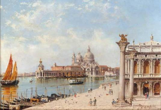 """A View Of The Piazzetta And Santa Maria Della Salute, Venice (600х411) - Antonietta Brandeis"""
