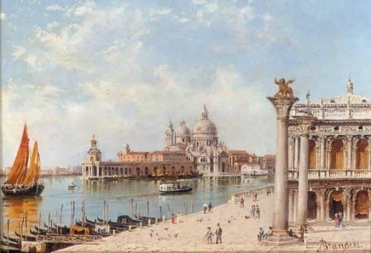 """""""A View Of The Piazzetta And Santa Maria Della Salute, Venice (600х411) - Antonietta Brandeis"""""""