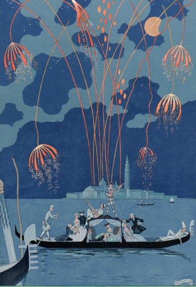 """George Barbier """"Les Fêtes Galantes"""" Feu d'Artifice à Venise 1921"""