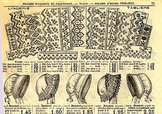 Dentelles dans un catalogue de mercerie d'un Grand Magasin