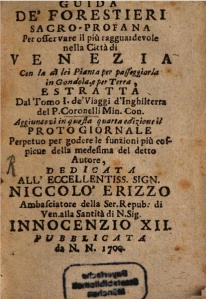 Vincenzo Coronelli, Guida de' Forestieri sacro-profana.