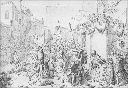 Giuseppe Gatteri : il momento dell'assalto dei giovani alle donzelle rinchiuse nel Castello d'Amore.
